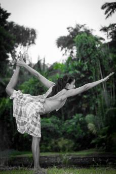 Yoga poses at Kebun Raya